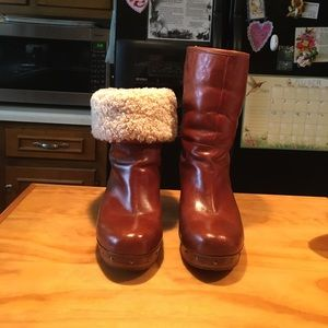 UGG Amoret Cognac Leather Sheepskin Clogs Boots